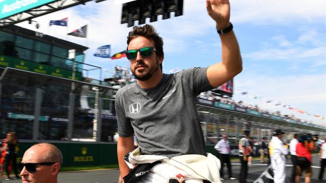 Fernando Alonso (ESP) McLaren on the drivers parade at Formula One World Championship, Rd1, Australian Grand Prix, Race, Albert Park, Melbourne, Australia, Sunday 26 March 2017. &copy&#x3b; Sutton Motorsport Images