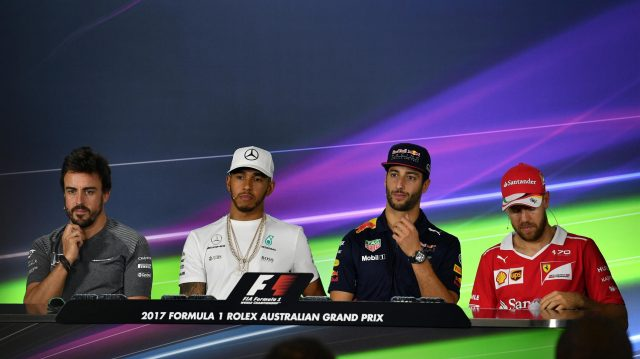 (L to R): Fernando Alonso (ESP) McLaren, Lewis Hamilton (GBR) Mercedes AMG F1, Daniel Ricciardo (AUS) Red Bull Racing and Sebastian Vettel (GER) Ferrari in the Press Conference at Formula One World Championship, Rd1, Australian Grand Prix, Preparations, Albert Park, Melbourne, Australia, Thursday 23 March 2017. &copy&#x3b; Sutton Motorsport Images