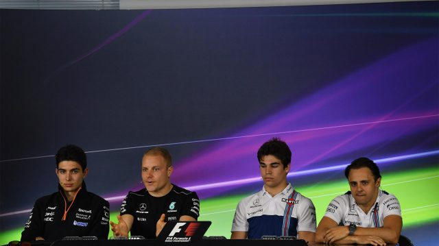 (L to R): Esteban Ocon (FRA) Force India F1, Valtteri Bottas (FIN) Mercedes AMG F1, Lance Stroll (CDN) Williams and Felipe Massa (BRA) Williams in the Press Conference at Formula One World Championship, Rd1, Australian Grand Prix, Preparations, Albert Park, Melbourne, Australia, Thursday 23 March 2017. &copy&#x3b; Sutton Motorsport Images