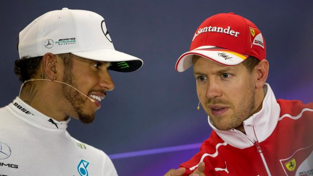 Lewis Hamilton (GBR) Mercedes AMG F1 and race winner Sebastian Vettel (GER) Ferrari in the Press Conference at Formula One World Championship, Rd3, Bahrain Grand Prix Race, Bahrain International Circuit, Sakhir, Bahrain, Sunday 16 April 2017. &copy&#x3b; Sutton Motorsport Images