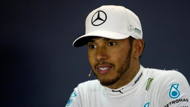 Lewis Hamilton (GBR) Mercedes AMG F1 in the Press Conference at Formula One World Championship, Rd3, Bahrain Grand Prix Race, Bahrain International Circuit, Sakhir, Bahrain, Sunday 16 April 2017. &copy&#x3b; Sutton Motorsport Images