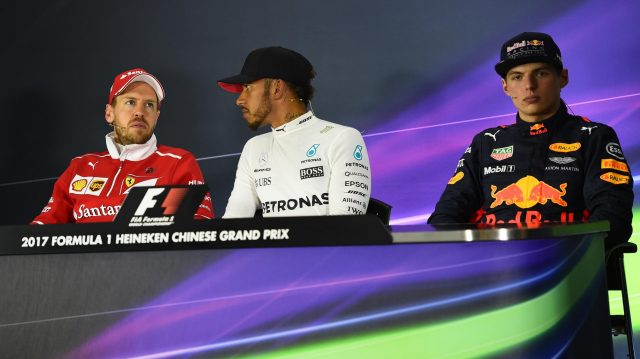 Max Verstappen (NED) Red Bull Racing, Sebastian Vettel (GER) Ferrari and race winner Lewis Hamilton (GBR) Mercedes AMG F1 in the Press Conference at Formula One World Championship, Rd2, Chinese Grand Prix, Race, Shanghai, China, Sunday 9 April 2017. &copy&#x3b; Sutton Motorsport Images