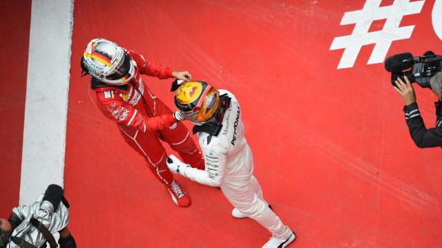 Race winner Lewis Hamilton (GBR) Mercedes AMG F1 and Sebastian Vettel (GER) Ferrari celebrate in parc ferme at Formula One World Championship, Rd2, Chinese Grand Prix, Race, Shanghai, China, Sunday 9 April 2017. &copy&#x3b; Sutton Motorsport Images