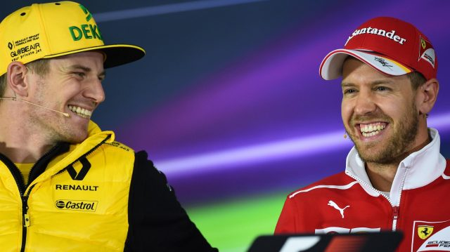 Nico Hulkenberg (GER) Renault Sport F1 Team and Sebastian Vettel (GER) Ferrari in the Press Conference at Formula One World Championship, Rd2, Chinese Grand Prix, Preparations, Shanghai, China, Thursday 6 April 2017. &copy&#x3b; Sutton Motorsport Images