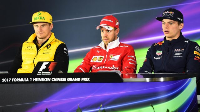 (L to R): Nico Hulkenberg (GER) Renault Sport F1 Team, Sebastian Vettel (GER) Ferrari and Max Verstappen (NED) Red Bull Racing in the Press Conference at Formula One World Championship, Rd2, Chinese Grand Prix, Preparations, Shanghai, China, Thursday 6 April 2017. &copy&#x3b; Sutton Motorsport Images