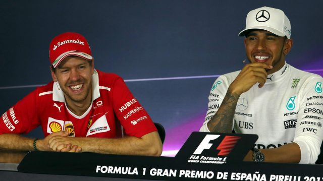 Race winner Lewis Hamilton (GBR) Mercedes AMG F1 and Sebastian Vettel (GER) Ferrari in the Press Conference at Formula One World Championship, Rd5, Spanish Grand Prix, Race, Barcelona, Spain, Sunday 14 May 2017. &copy&#x3b; Sutton Motorsport Images