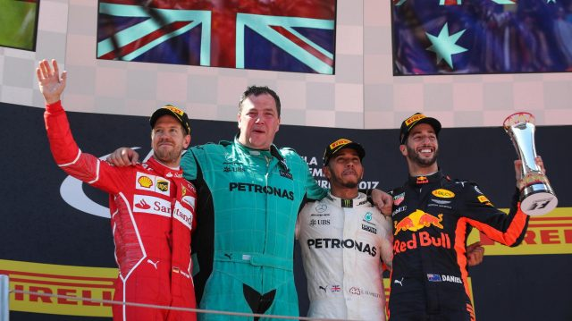 Sebastian Vettel (GER) Ferrari, Lewis Hamilton (GBR) Mercedes AMG F1 and Daniel Ricciardo (AUS) Red Bull Racing celebrate on the podium at Formula One World Championship, Rd5, Spanish Grand Prix, Race, Barcelona, Spain, Sunday 14 May 2017. &copy&#x3b; Sutton Motorsport Images