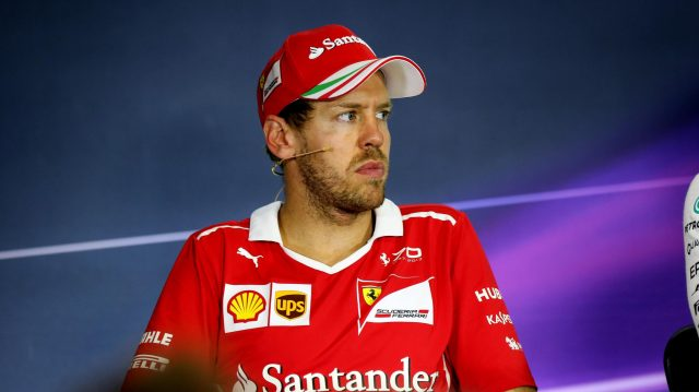 Sebastian Vettel (GER) Ferrari in the Press Conference at Formula One World Championship, Rd5, Spanish Grand Prix, Race, Barcelona, Spain, Sunday 14 May 2017. &copy&#x3b; Sutton Motorsport Images