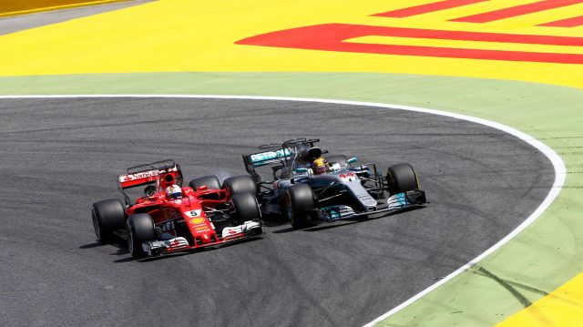 Sebastian Vettel (GER) Ferrari SF70-H and Lewis Hamilton (GBR) Mercedes-Benz F1 W08 Hybrid battle for the lead at Formula One World Championship, Rd5, Spanish Grand Prix, Race, Barcelona, Spain, Sunday 14 May 2017. &copy&#x3b; Sutton Motorsport Images