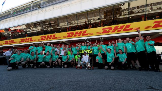 Race winner Lewis Hamilton (GBR) Mercedes AMG F1 celebrates with the team and the trophies at Formula One World Championship, Rd5, Spanish Grand Prix, Race, Barcelona, Spain, Sunday 14 May 2017. &copy&#x3b; Sutton Motorsport Images