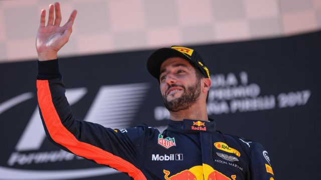 Daniel Ricciardo (AUS) Red Bull Racing celebrates on the podium at Formula One World Championship, Rd5, Spanish Grand Prix, Race, Barcelona, Spain, Sunday 14 May 2017. &copy&#x3b; Sutton Motorsport Images