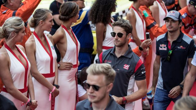 Romain Grosjean (FRA) Haas F1 on the drivers parade at Formula One World Championship, Rd6, Monaco Grand Prix, Race, Monte-Carlo, Monaco, Sunday 28 May 2017. &copy&#x3b; Sutton Images
