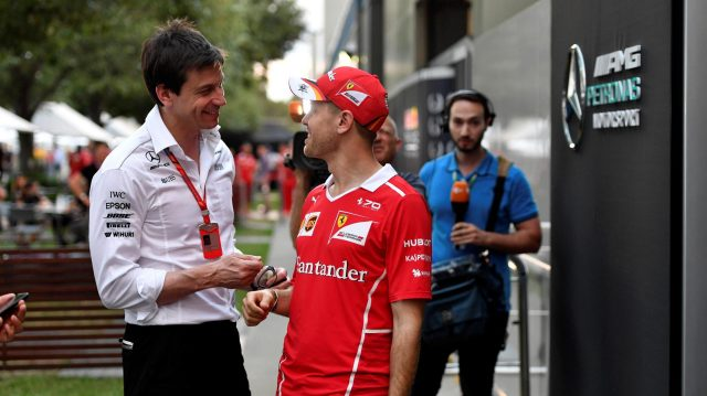 Toto Wolff (AUT) Mercedes AMG F1 Director of Motorsport and Sebastian Vettel (GER) Ferrari at Formula One World Championship, Rd1, Australian Grand Prix, Qualifying, Albert Park, Melbourne, Australia, Saturday 25 March 2017. &copy&#x3b; Sutton Motorsport Images