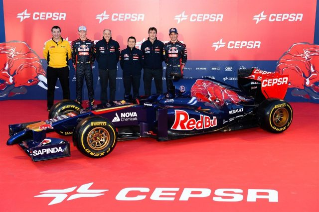 (L to R): Rob White (GBR) Renault Sport&#x3b; Daniil Kvyat (RUS) Scuderia Toro Rosso&#x3b; Franz Tost (AUT) Scuderia Toro Rosso Team Principal&#x3b; Luca Furbotta (ITA) Scuderia Toro Rosso Chief Designer&#x3b; James Key (GBR) Scuderia Toro Rosso Technical Director and Jean-Eric Vergne (FRA) Scuderia Toro Rosso unveil the Scuderia Toro Rosso STR9. Scuderia Toro Rosso STR9 Launch, Jerez, Spain, Monday, 27 January 2014