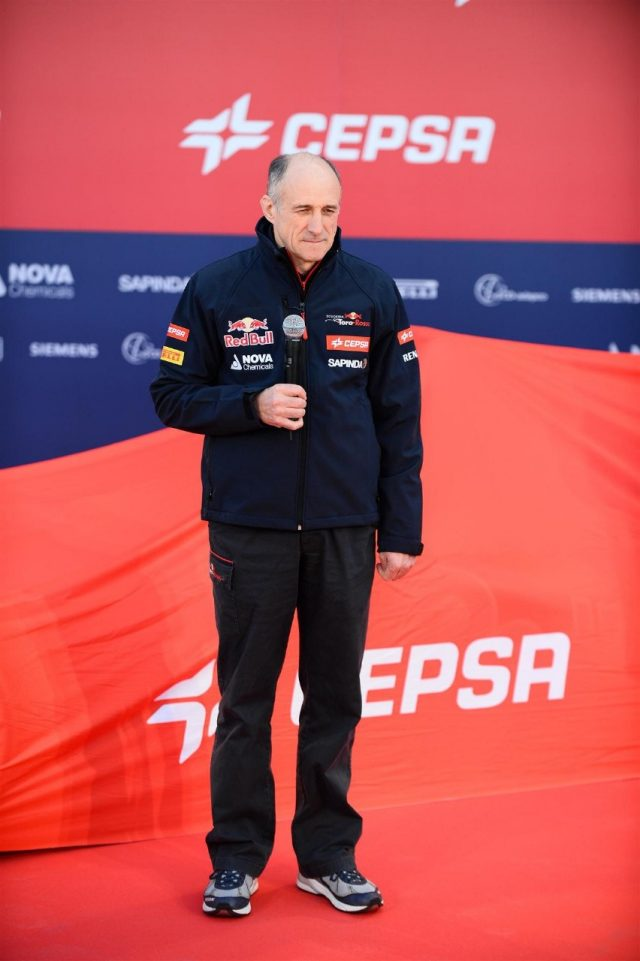 Franz Tost (AUT) Scuderia Toro Rosso Team Principal and the new Scuderia Toro Rosso STR9. Scuderia Toro Rosso STR9 Launch, Jerez, Spain, Monday, 27 January 2014