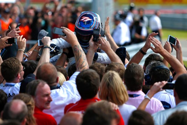 Valtteri Bottas (FIN) Williams celebrates in parc ferme. Formula One World Championship, Rd9, British Grand Prix, Race Day, Silverstone, England, Sunday, 6 July 2014
