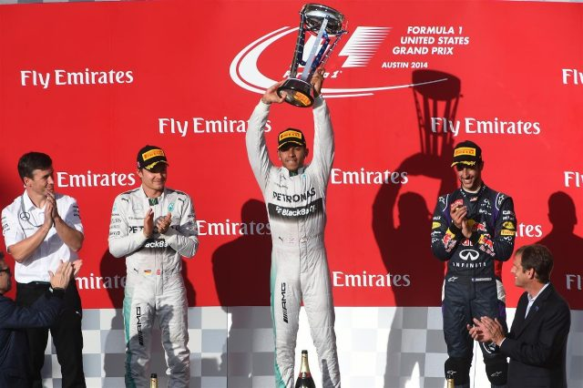 Podium and results: 1st Lewis Hamilton (GBR) Mercedes AMG F1, centre. 2nd Nico Rosberg (GER) Mercedes AMG F1,left. 3rd Daniel Ricciardo (AUS) Red Bull Racing, right.# Rob Thomas (GBR) Mercedes AMG F1 Operations and Quality Director MHPE, far left. Formula One World Championship, Rd17, United States Grand Prix, Race, Austin, Texas, USA, Sunday, 2 November 2014