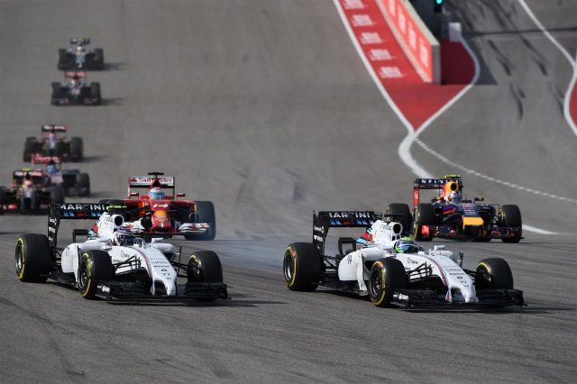 Valtteri Bottas (FIN) Williams FW36 and Felipe Massa (BRA) Williams FW36 battle. Formula One World Championship, Rd17, United States Grand Prix, Race, Austin, Texas, USA, Sunday, 2 November 2014