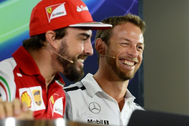 Fernando Alonso (ESP) Ferrari and Jenson Button (GBR) McLaren in the Press Conference. Formula One World Championship, Rd19, Abu Dhabi Grand Prix, Preparations, Yas Marina Circuit, Abu Dhabi, UAE, Thursday, 20 November 2014 © Sutton Images. No reproduction without permission
