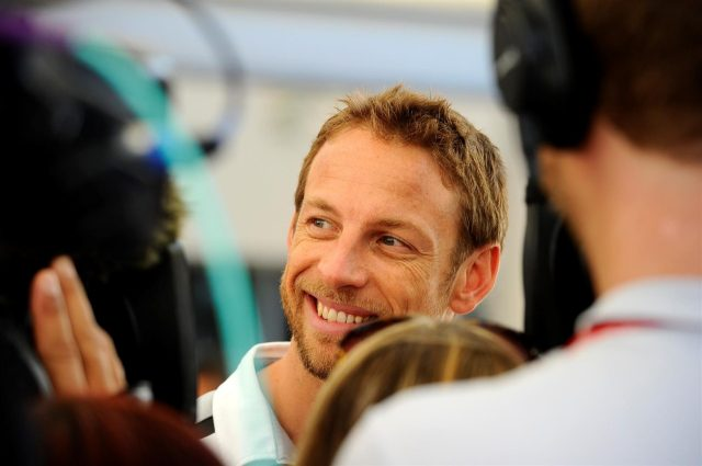 Jenson Button (GBR) McLaren gives an interview to the media. Formula One World Championship, Rd19, Abu Dhabi Grand Prix, Preparations, Yas Marina Circuit, Abu Dhabi, UAE, Thursday, 20 November 2014 © Sutton Images. No reproduction without permission