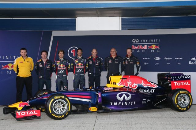 (L to R): Rob White (GBR) Renault Sport, Christian Horner (GBR) Red Bull Racing Team Principal, Sebastian Vettel (GER) Red Bull Racing, Daniel Ricciardo (AUS) Red Bull Racing, Adrian Newey (GBR) Red Bull Racing Chief Technical Officer, Rob Marshall (GBR) Red Bull Racing Chief Designer and Paul Monaghan (GBR) Red Bull Racing Chief Engineer with the new Red Bull Racing RB10. Formula One Testing, Jerez, Spain, Day One, Tuesday, 28 January 2014