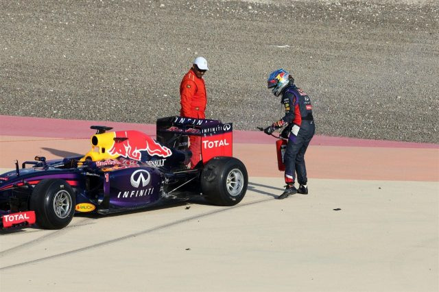 Sebastian Vettel (GER) Red Bull Racing RB10 stops out on track. Formula One Testing, Day One, Bahrain International Circuit, Sakhir, Bahrain, Wednesday, 19 February 2014
