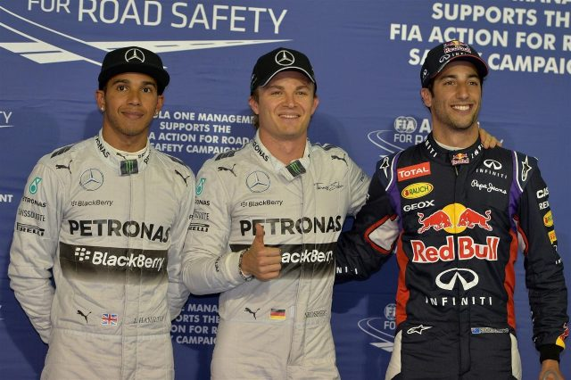 (L to R): Lewis Hamilton (GBR) Mercedes AMG F1, pole sitter Nico Rosberg (GER) Mercedes AMG F1 and Daniel Ricciardo (AUS) Red Bull Racing celebrate in parc ferme. Formula One World Championship, Rd3, Bahrain Grand Prix, Qualifying, Bahrain International Circuit, Sakhir, Bahrain, Saturday, 5 April 2014