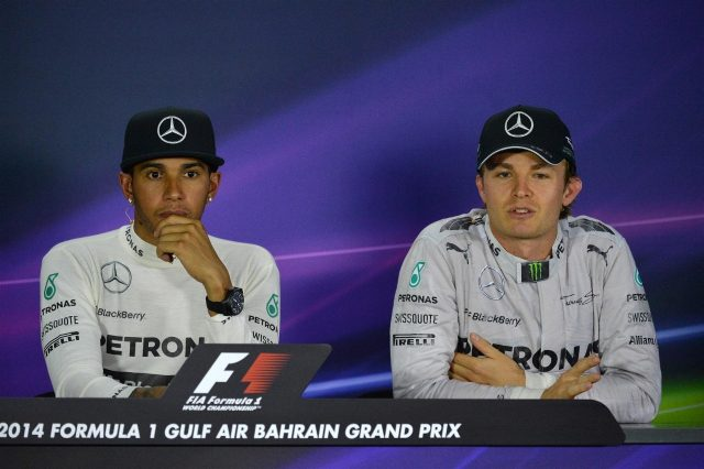 Race winner Lewis Hamilton (GBR) Mercedes AMG F1 and Nico Rosberg (GER) Mercedes AMG F1 in the Press Conference. Formula One World Championship, Rd3, Bahrain Grand Prix, Race, Bahrain International Circuit, Sakhir, Bahrain, Sunday, 6 April 2014