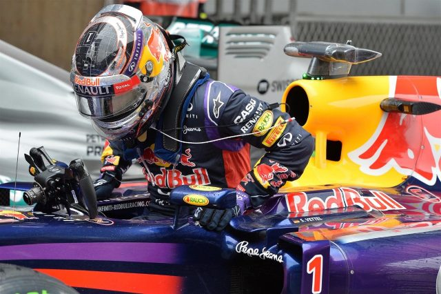 Sebastian Vettel (GER) Red Bull Racing RB10 in parc ferme. Formula One World Championship, Rd4, Chinese Grand Prix, Qualifying, Shanghai, China, Saturday, 19 April 2014