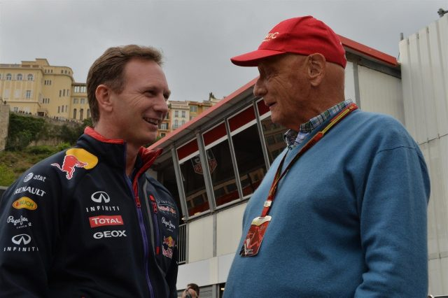(L to R): Christian Horner (GBR) Red Bull Racing Team Principal and Niki Lauda (AUT) Mercedes AMG F1 Non-Executive Chairman Formula One World Championship, Rd6, Monaco Grand Prix, Practice, Monte-Carlo, Monaco, Thursday, 22 May 2014