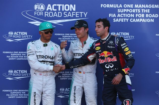 (L to R): Lewis Hamilton (GBR) Mercedes AMG F1, pole sitter Nico Rosberg (GER) Mercedes AMG F1 and Daniel Ricciardo (AUS) Red Bull Racing celebrate in parc ferme. Formula One World Championship, Rd6, Monaco Grand Prix, Qualifying, Monte-Carlo, Monaco, Saturday, 24 May 2014