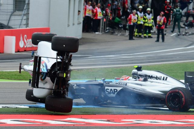 Felipe Massa (BRA) Williams FW36 crashed and rolled after colliding with Kevin Magnussen (DEN) McLaren MP4-29 at the start of the race. Formula One World Championship, Rd10, German Grand Prix, Race Day, Hockenheim, Germany, Sunday, 20 July 2014