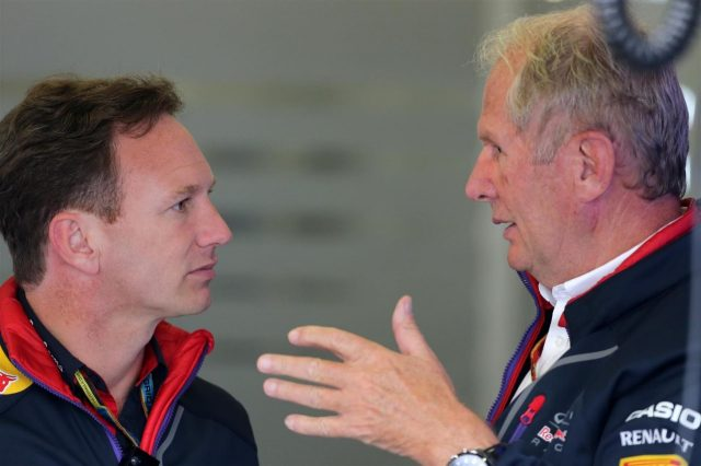 Christian Horner (GBR) Red Bull Racing Team Principal and Dr Helmut Marko (AUT) Red Bull Motorsport Consultant. Formula One World Championship, Rd9, British Grand Prix, Practice, Silverstone, England, Friday, 4 July 2014