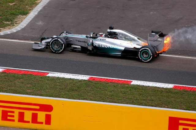 Lewis Hamilton (GBR) Mercedes AMG F1 W05 with a fire in Q1. Formula One World Championship, Rd11, Hungarian Grand Prix, Qualifying, Hungaroring, Hungary. Saturday, 26 July 2014
