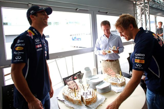 Birthday cakes for Daniel Ricciardo (AUS) Red Bull Racing and Sebastian Vettel (GER) Red Bull Racing. Formula One World Championship, Rd9, British Grand Prix, Preparations, Silverstone, England, Thursday, 3 July 2014