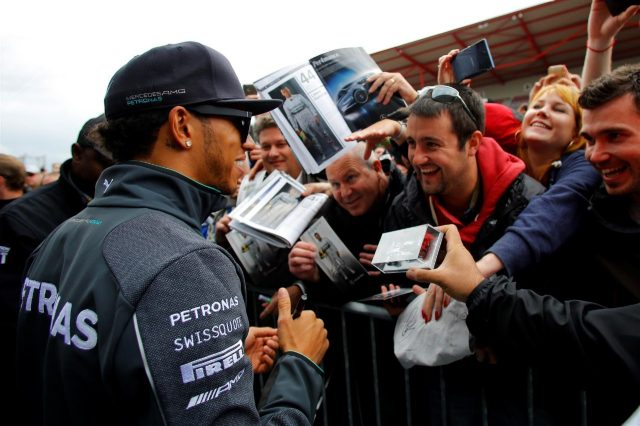 Lewis Hamilton (GBR) Mercedes AMG F1 signs autographs for the fans. Formula One World Championship, Rd12, Belgian Grand Prix, Preparations, Spa-Francorchamps, Belgium, Thursday, 21 August 2014