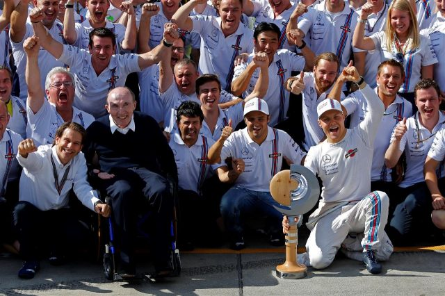 Frank Williams (GBR) Williams Team Owner and the team celebrates third place for Valtteri Bottas (FIN) Williams and fourth place for Felipe Massa (BRA) Williams. Formula One World Championship, Rd8, Austrian Grand Prix, Race, Spielberg, Austria, Sunday, 22 June 2014