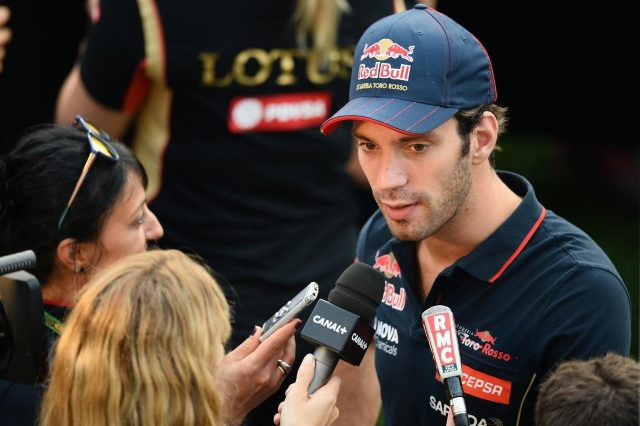 Jean-Eric Vergne (FRA) Scuderia Toro Rosso talks with the media. Formula One World Championship, Rd14, Singapore Grand Prix, Marina Bay Street Circuit, Singapore, Preparations, Thursday, 18 September 2014