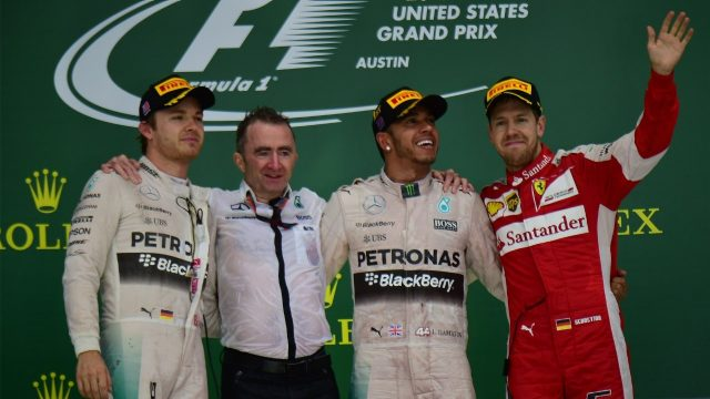 (L to R): Nico Rosberg (GER) Mercedes AMG F1, Paddy Lowe (GBR) Mercedes AMG F1 Executive Director (Technical), Lewis Hamilton (GBR) Mercedes AMG F1 and Sebastian Vettel (GER) Ferrari celebrate on the podium at Formula One World Championship, Rd16, United States Grand Prix, Race, Austin, Texas, USA, Sunday 25 October 2015. &copy&#x3b; Sutton Motorsport Images