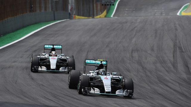Nico Rosberg (GER) Mercedes AMG F1 W06 leads Lewis Hamilton (GBR) Mercedes AMG F1 W06 at Formula One World Championship, Rd18, Brazilian Grand Prix, Race, Interlagos, Sao Paulo, Brazil, Sunday 15 November 2015. &copy&#x3b; Sutton Motorsport Images