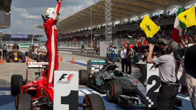 Race winner Sebastian Vettel (GER) Ferrari SF15-T celebrates in parc ferme at Formula One World Championship, Rd2, Malaysian Grand Prix, Race, Sepang, Malaysia, Sunday 29 March 2015. &copy&#x3b; Sutton Motorsport Images