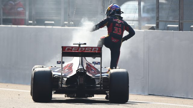 Max Verstappen (NDL) Scuderia Toro Rosso STR10 climbs out of his stricken car after blowing his engine on Lap 52 at Formula One World Championship, Rd3, Chinese Grand Prix, Race, Shanghai, China, Sunday 12 April 2015. &copy&#x3b; Sutton Motorsport Images