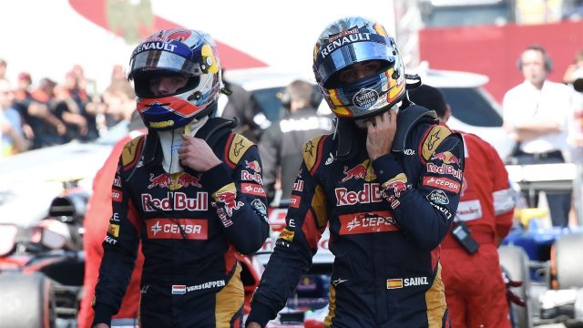 Max Verstappen (NDL) Scuderia Toro Rosso and Carlos Sainz jr (ESP) Scuderia Toro Rosso in parc ferme at Formula One World Championship, Rd5, Spanish Grand Prix Qualifying, Barcelona, Spain, Saturday 9 May 2015. &copy&#x3b; Sutton Motorsport Images