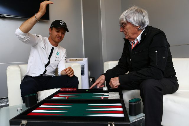 Mercedes' Nico Rosberg in conversation with Formula One group CEO Bernie Ecclestone, Monaco, May 21, 2015 &copy&#x3b; xpbimages.com