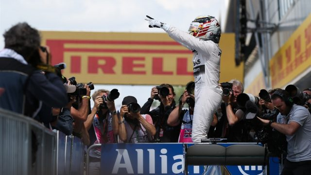 Pole sitter Lewis Hamilton (GBR) Mercedes AMG F1 celebrates in parc ferme at Formula One World Championship, Rd9, British Grand Prix, Qualifying, Silverstone, England, Saturday 4 July 2015. &copy&#x3b; Sutton Motorsport Images