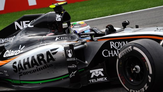 Sergio Perez (MEX) Force India VJM08 at Formula One World Championship, Rd11, Belgian Grand Prix, Race, Spa Francorchamps, Belgium, Sunday 23 August 2015. &copy&#x3b; Sutton Motorsport Images