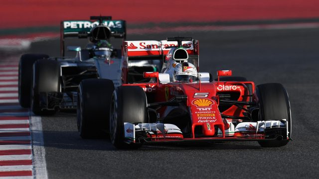 Sebastian Vettel (GER) Ferrari SF16-H and Nico Rosberg (GER) Mercedes-Benz F1 W07 Hybrid at Formula One Testing, Day Two, Barcelona, Spain, Wednesday 2 March 2016. &copy&#x3b; Sutton Motorsport Images
