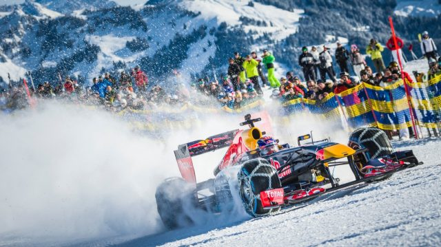 F1 star Max Verstappen races down an Alps ski run